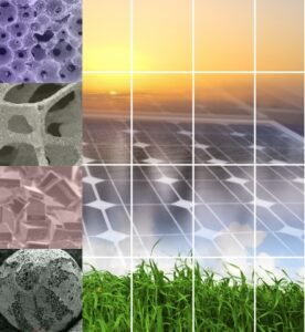 SEM pictures, solar panels and green grass